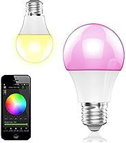BOHMAIN Magic Dimmbare LED Glühlampe E27 Fassung 350 Lumen RGB Birne mit Bluetooth 4.0 Ambiente Beleuchtung per App Kompatib