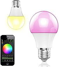 BOHMAIN Magic Dimmbare LED Glühlampe E27 Fassung 350 Lumen RGB Birne mit Bluetooth 4.0 Ambiente Beleuchtung per App Kompatibel mit Touchscreen Smartphones via iOS & Android System für Zuhause , Café , Restaurant , Bars etc