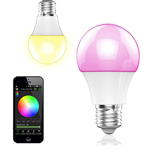 re LED Glühlampe E27 Fassung 350 Lumen RGB Birne mit Bluetooth 4.0 Ambiente Beleuchtung per App Kompatibel mit Touchscreen Smartphones via iOS & Android System für Zuhause , Café , Restaurant , Bars etc ()