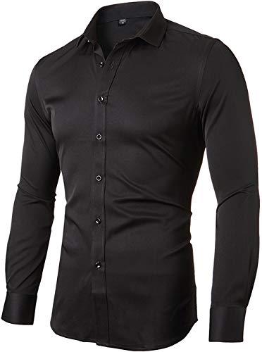 INFlATION Herren Hemd aus Bambusfaser umweltfreudlich Elastisch Slim Fit für Freizeit Business Hochzeit Reine Farbe Hemd Langarm,DE M (Etikette 41),Schwarz