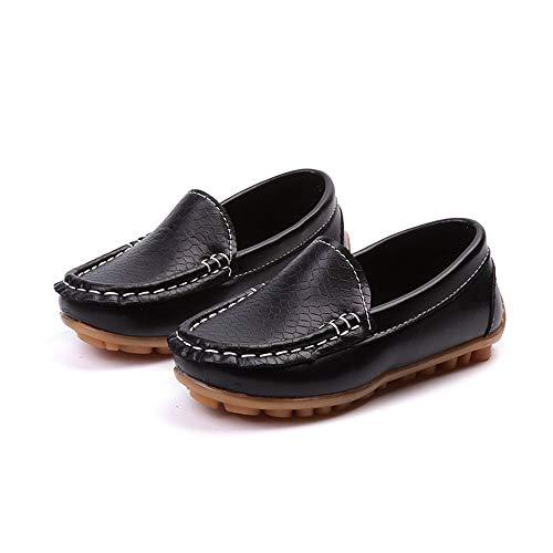 Shufang-shoes, 2018 Herren Schlupfschuhe flach Jungen Casual PU Leder Penny Driving Loafer Mädchen Bare Vamp Mokassins Kinder Bootsschuhe, PU-Leder, Schwarz, 10.5 UK Child