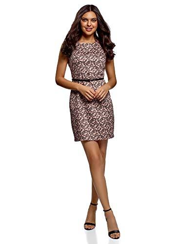 oodji Ultra Damen Tailliertes Ärmelloses Kleid, Rosa, DE 42 / EU 44 / XL