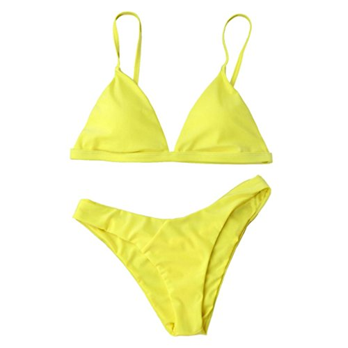 Damen Bikini Internet Push-Up gepolsterte BH Beach Bikini Set Badeanzug (M, gelb)