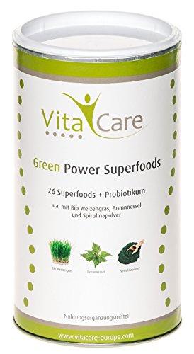 Smoothie Pulver Mischung Green (Smoothie-Pulver für echte Superfood Smoothies Green | 360 Gramm | Mischung eignet sich zum Abnehmen • mit Vitalstoffe & Multivitamin | Glutenfrei • Vegan • Zuckerfrei | Vitacare)