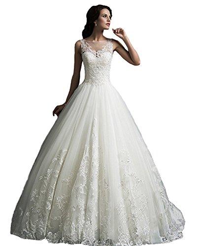 YASIOU Hochzeitskleid Standesamt Damen Lang Tüll Spitze Weiß Vintage Durchsichtig Hochgeschlossen...