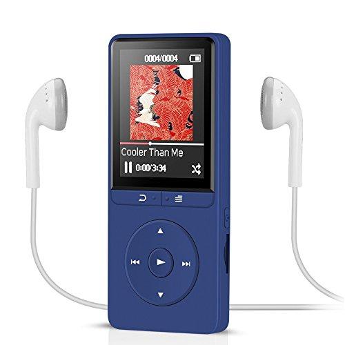 16GB Lossless MP3 Player mit FM Radio und Aufnahmefunktion, 1.8 Zoll TFT Display Sport Musik Player, 70 Stunden Wiedergabe, von AGPTEK A20S, Dunkelblau