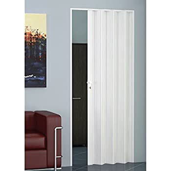 Folding Door PVC Material Standard Size Height and Width May Be Reduced  sc 1 st  Amazon UK & Internal Glazed PVC Concertina Folding Door White Gloss Lockable ...