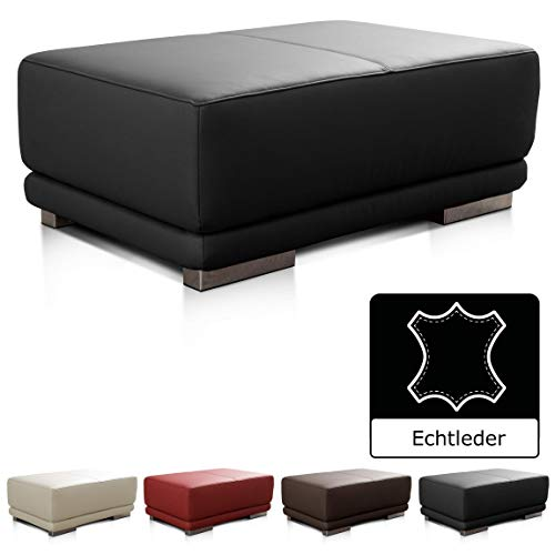 CAVADORE Lederhocker Corianne / Rechteckiger Sitzhocker in Echtleder / 103 x 41 x 69 / Echtleder schwarz