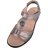 Absolute Footwear Womens Light Weight Casual Wide Fitting Sandal/Shoes with Ripper Fastening - Pewter - UK 6