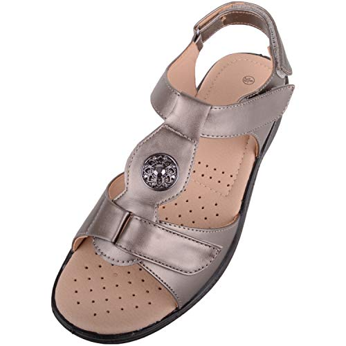 8080f252 Absolute Footwear Womens Light Weight Casual Wide Fitting Sandal/Shoes with  Ripper Fastening - Pewter