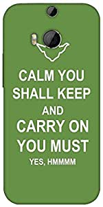 Snoogg Keep Calm And Carry On Designer Protective Back Case Cover For HTC M8