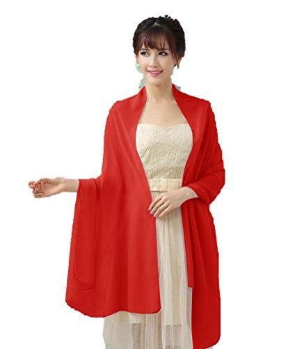 Dresstells, Femme pashmina châle écharpe étole en mousseline polyester printemps/été Rouge