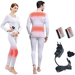 J-Jinpei Ropa Interior Térmica con Calefacción de Invierno Camiseta Térmica Calefactoras + Pantalones Protección contra el Frío Rodilleras Batería de Litio Recargable 3000mAh -20 Grados, M(Gris)