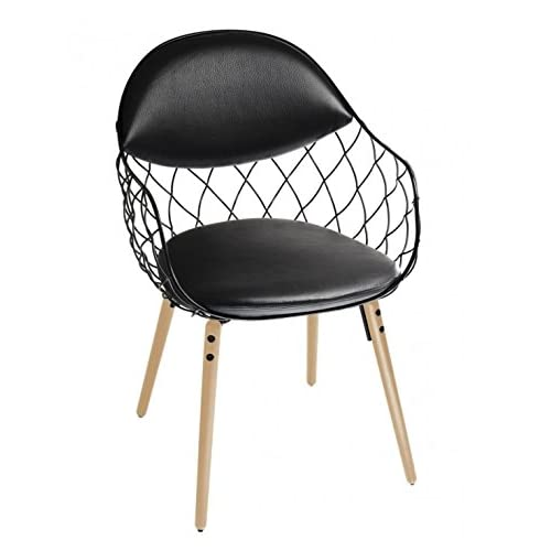 Magis Piña Armchair in natural ash and cushions in real black leather
