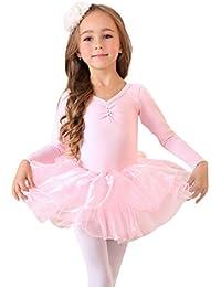 Geschenk-Idee! Prinzessin Design langen Ärmeln zweiteilige Ballett-Ballettröckchen -Kleid, Größe 4-8 , Preis / Stück - Rosa