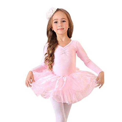 Mädchen Ballerina Kostüm - VENI MASEE Prinzessin Design Langen Ärmeln Zweiteilige Ballettröckchen, Gr.-L/Herstellergröße- 120, Rosa