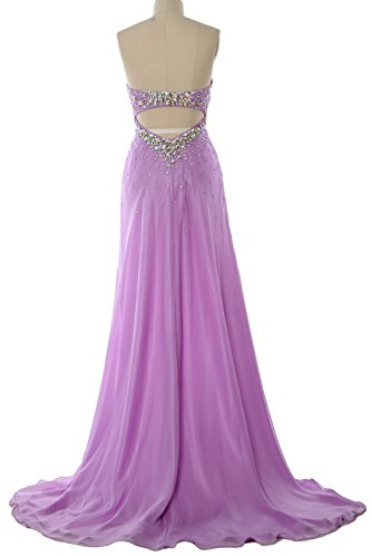 MACloth Women Hi Lo Crystal Long Prom Homecoming Dress Formal Evening Party Gown Elfenbein