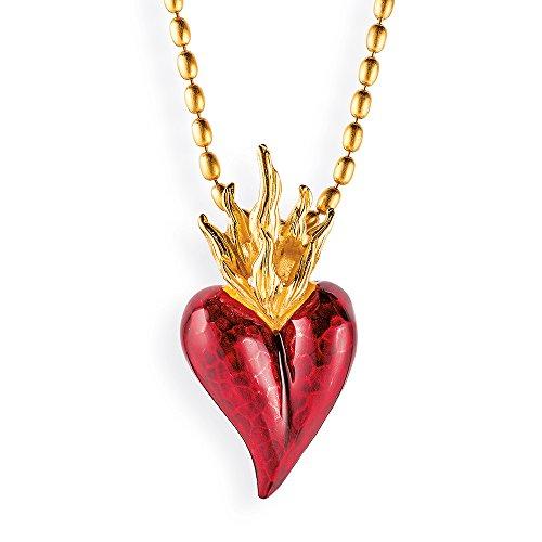 Drachenfels Herz-Anhänger in Echtsilber, Kollektion Flammeninferno, Anhänger aus 925 Sterling Silber, Ausgefallener Herzanhänger für Halskette, goldplattiert