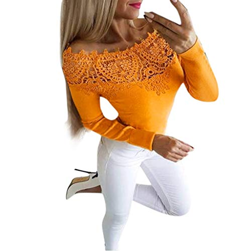 Junjie 2019 Damen Frauen Sommer Herbst Lange Hülsen Solide Spitze Reizvolle Feste Oberseiten Blusen Shirt Sweatshirt Blumen Damenkleid Adapter Sweatshirt