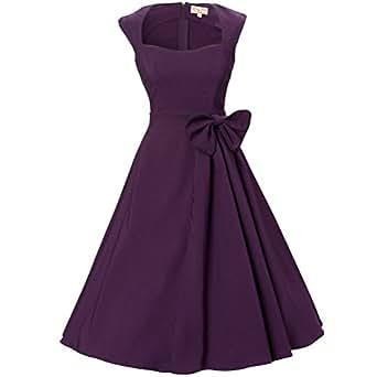 Zxzy Wommen 50s 60s Rockabilly Dress Audrey Hepburn Vintage Retro Swing Square Collar Dresses