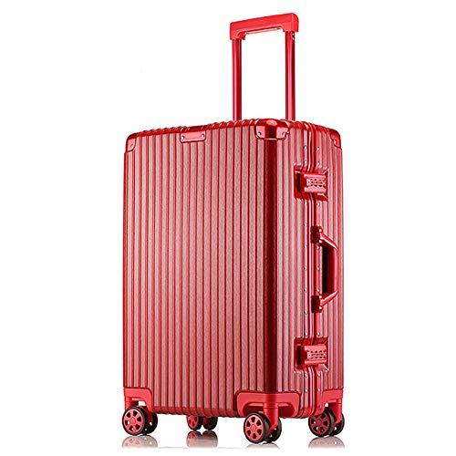 TY&GH Valise Rigide Ultra Légère en Abs - Chariot De Transport De Bagages Cabine - Valise 4 Roues - Unisexe - Blanc,Red,29In