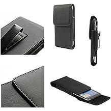 DFV mobile - Leather Flip Belt Clip Metal Case Holster Vertical for => Meizu m2 NOTE > Black