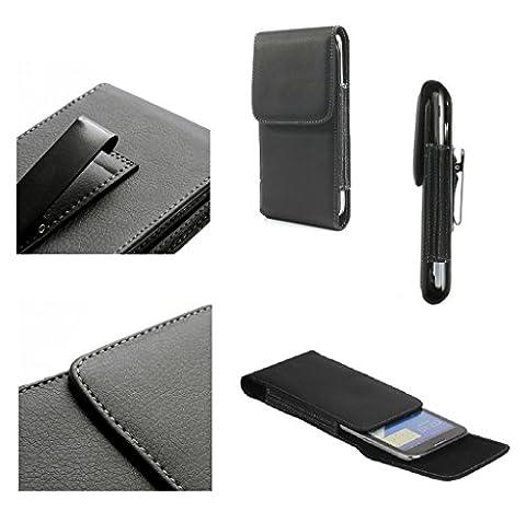 DFV mobile - Leather Flip Belt Clip Metal Case Holster Vertical for => HIGHSCREEN BOOST 2 > Black