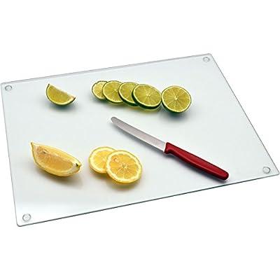 Harbour Housewares Glass Worktop Saver Chopping Board, Clear, 40 x 30cm