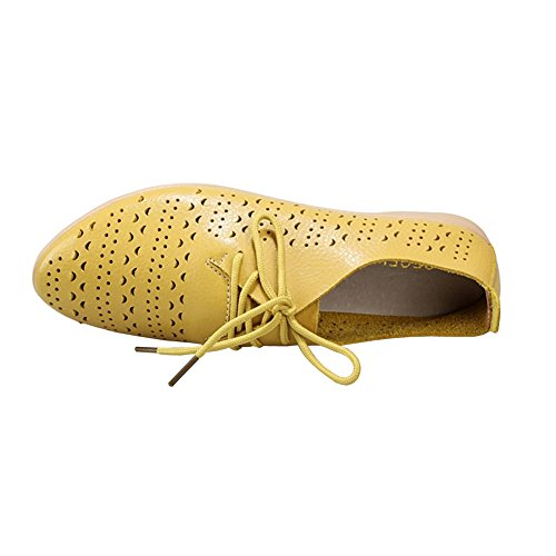 LISIANTHUS002donne Lace Up Hollow Out Flat Shoes Yellow