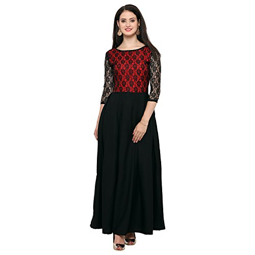 Fashion2wear Women's Crepe Net Latest Casual Western Stitched Gown(F2W-G-125-XL, Red)