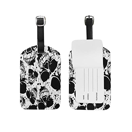 Watercolor Skull Halloween Luggage Tags Travel Bag Tag Suitcase 1 Piece (Halloween Cat-look Cute Für)