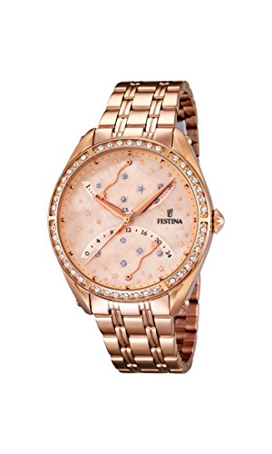 Festina Women's Quartz Watch with Rose Gold Dial Analogue Display and Rose Gold Stainless Steel Plated Bracelet F16742/2