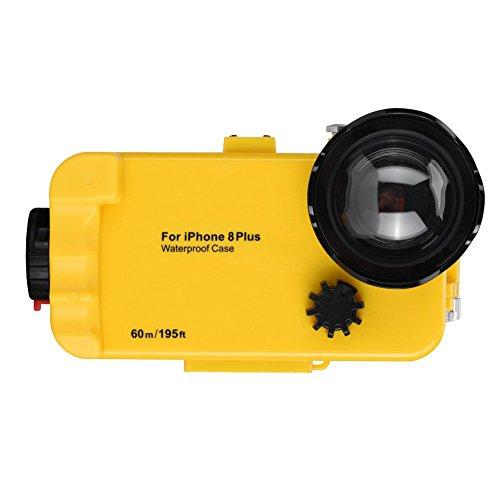 Fosa 195ft Unterwasser 60meter Tauchen Fall 360 ° Schutz Fotos Tauchen Fall Schutzhülle für iPhone 8/8P(Gelb 8P)