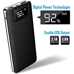 Forme External Battery 12000mAh High Capacity Power Bank Wireless Portable Charger Two Inputs and 2 Ports Speed with Digital LCD Display for Smartphone Tablet