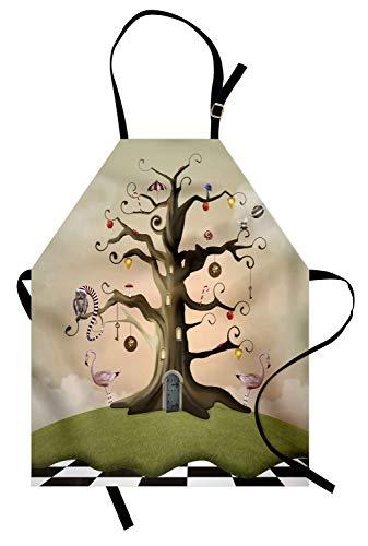 ABAKUHAUS Baum Kochschürze, Wonderland Themed Leafless Bole mit Hipnotic Ornamente auf schwarz weiß Karierten Boden, Farbfest Höhenverstellbar Waschbar Klarer Digitaldruck, Mehrfarbig