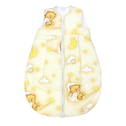 TupTam Baby Schlafsack Wattiert ohne Ärmel ANK001, Farbe: Bärchen Mond Beige, Größe: 62-74