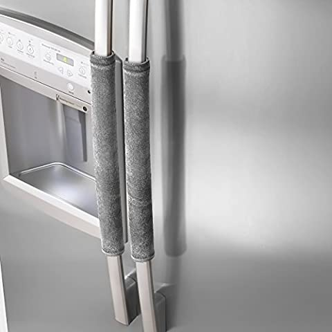 Vezvier Refrigerator Dust Door Handle Covers-Catches Fingerprints,Drips&Smudges-Reversible Protect Fridge,Oven,Kitchen Appliances Clean Covers(Grey)