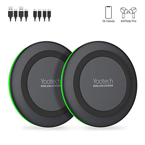 Wireless Charger 2 Pack,YOOTECH 10W fast QI Induktion Ladestation kabelloses Ladegerät für Qi Handy wie iPhone 11/11 Pro/11 Pro Max/XS MAX/XR/XS/X/8/8 Plus,Galaxy S20/Note 10/Note9/S10/S9,AirPods usw
