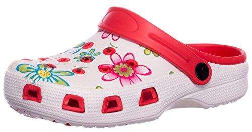 Brandsseller Damen Clogs Pantoffel Schuhe Gartenschuhe Hausschuhe - Farbe: Rot/Weiß - Größe: 40 - Blumenmuster -