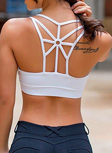ACHICGIRL Women's Solid Back Strappy Wire Free Sports Bra white