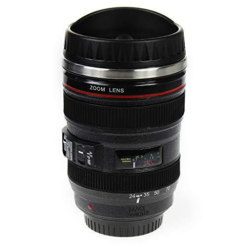 Monsterzeug Kaffeebecher Kameraobjektiv, Thermo Kaffeetasse Objektiv, Originelle Tasse, Kamera Linse Becher mit Deckel, Fotografen, doppelwandige Isolierung, 400 ml