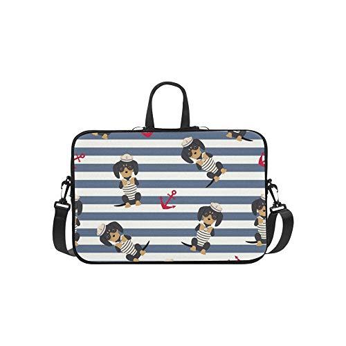Dackel Welpen Sailorman Kostüm Anker um Muster Aktenkoffer Laptoptasche Messenger Schulter Arbeitstasche Crossbody Handtasche für Geschäftsreisen (Jungen Kostüm Welpen)