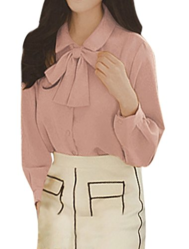 sourcingmap Damen Spitz Kragen Einreihig Freizeit Shirt mit Clip Seiten Rosa
