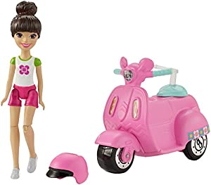 Barbie On The Go Pink Scooter and Doll - Muñecas (Multicolor, Femenino, Chica, 4 año(s),, Ampolla)
