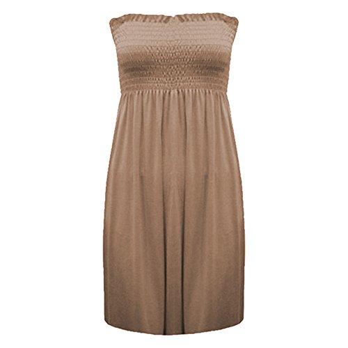 Fashion moins 4 pour femme Imprimé Sheering Plus longue bustier robe Haut débardeur 20 22 Moka
