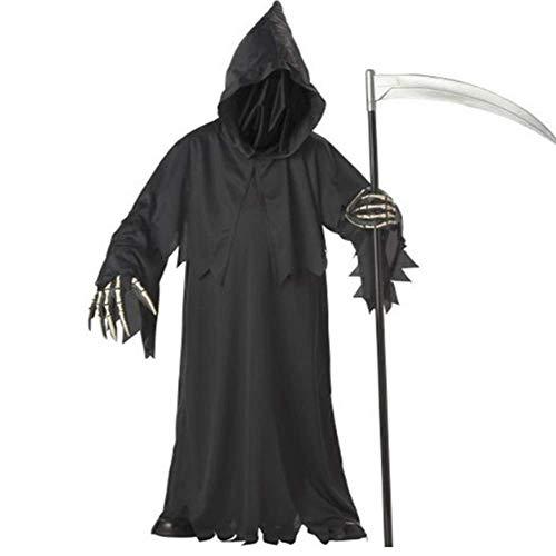 (GHLLSALHochwertige Sensenmann Kostüm mit Hut Masken Skeleton Hände Kostüme Erwachsene Männer Halloween Cosplay Skeleton Kostüme, Eine Größe)