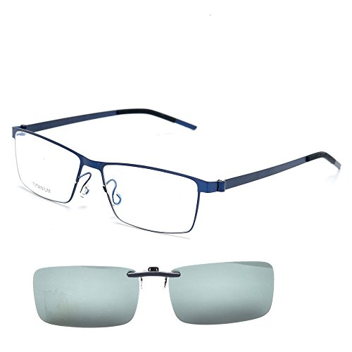 dc865f16be SO SMOOTH WIND Polarized Clip On Sunglasses Vintage style B Titanium Square  eyeglasses frame For Men and Women (Blue)