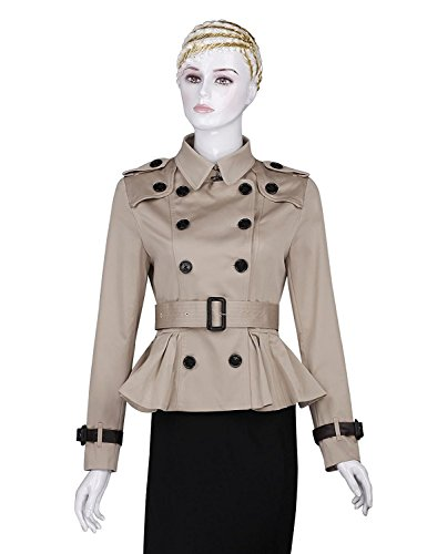 AURORA Women's Trench Coats double breasted Spring Pleated Short Belted Jacket,Khaki,S(US 6)