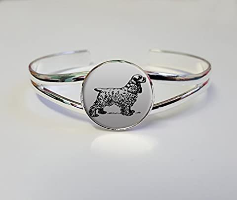 Cocker Spaniel On A Silver Plated Bracelet Bangle Costume Jewellery Ideal Ladies Birthday Gift L314