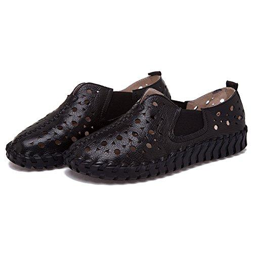Shenn Donna Scivolare su piana Casuale Pelle Bella sneaker Scarpe Nero